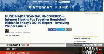 TGP's Joe Hoft Provides Analysis of IG Report and the Weiner Email Scandal on Hagmann Report