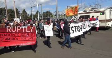 VIDEO=> Angry Socialists Protest Navy Ship Commissioning of USS Portland