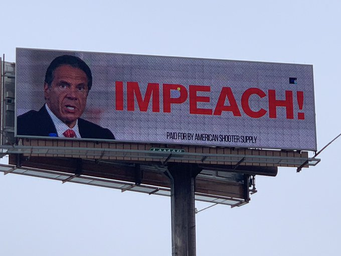 Billboard in Albany Calls for Disgraced New York Governor Cuomo to Be Impeached