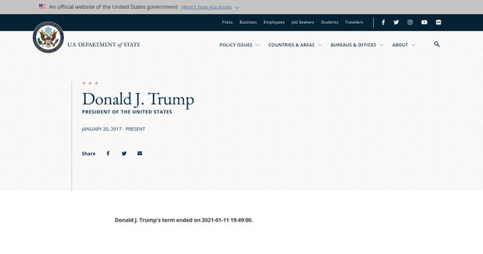 BREAKING: State Department Website Says 'Donald J. Trump's Term 'Ended' After 7 PM Tonight… Edited By 'Disgruntled Staffer'?