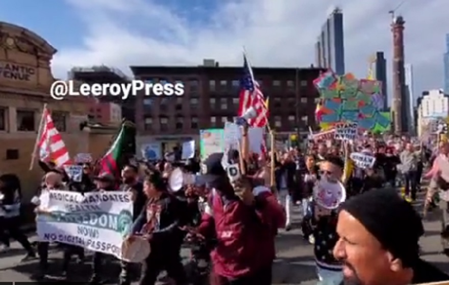 WATCH: Black Lives Matter and Anti-Mandate Protesters Join to Rally for Kyrie Irving