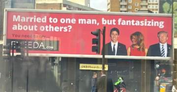 London Billboard Uses Image of President Trump and Melania to Encourage Women to Cheat on Their Husbands