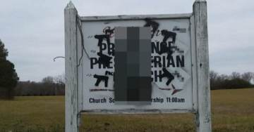 Historic Church Sign Vandalized With Images of Penis Guns, $2,000 Reward Offered for Information on Person Responsible
