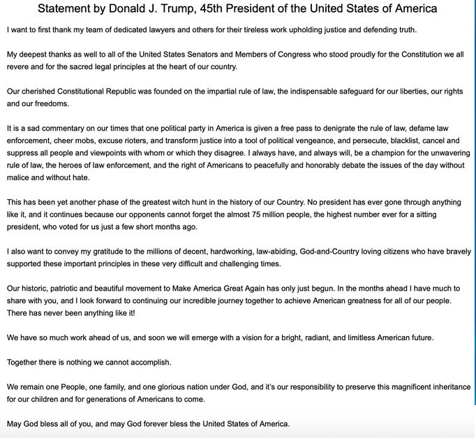 Trump Releases Statement Following Impeachment Acquittal 1-797