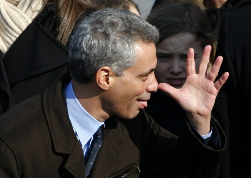 Incoming White House Chief of Staff Rahm Emanuel gestures prior to inauguration ceremony of Barack Obama as President of the United States in Washington