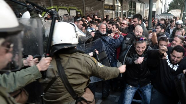 greece storming building