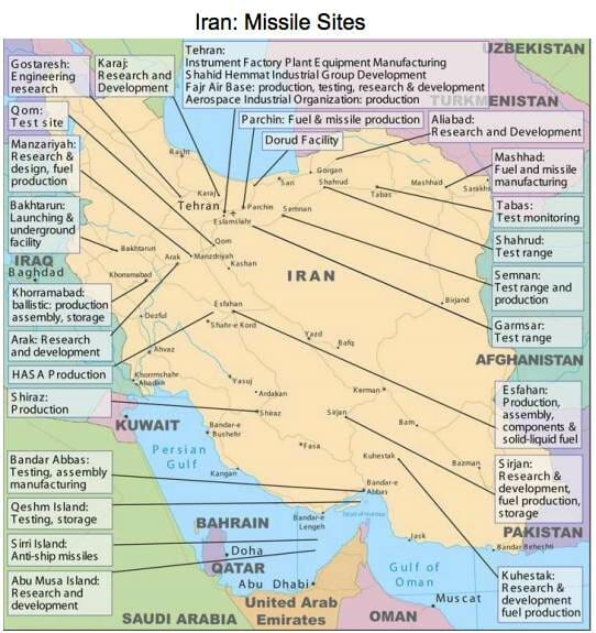iran missile sites