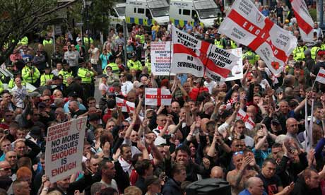 English Defence League (EDL) march through Dewsbury