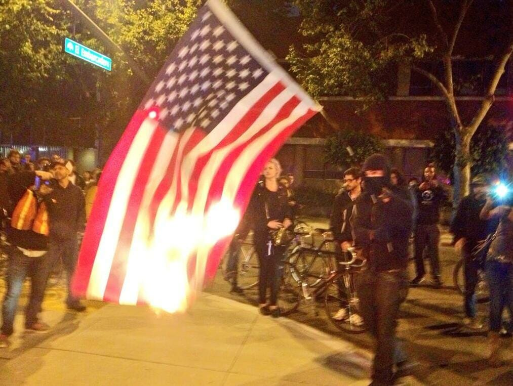 oakland trayvon protesters flag
