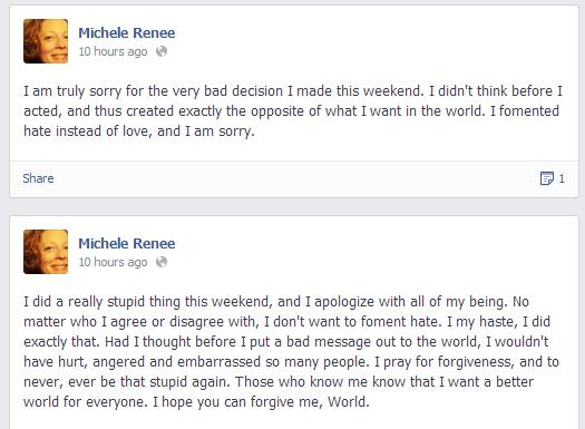 renee vaughan apology