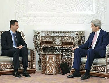 Bashar Al-Assad and John Kerry
