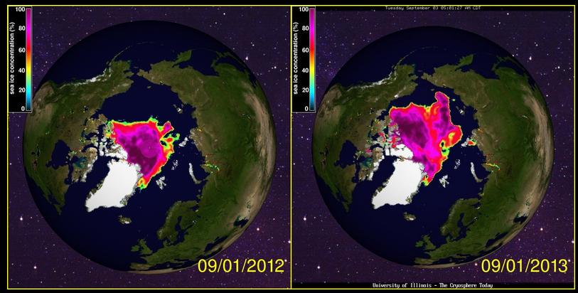 Sea Ice 2012 versus 2013