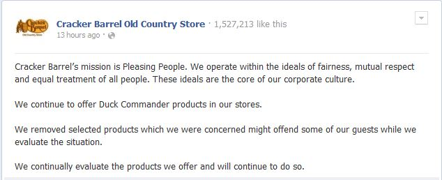 cracker barrel statement