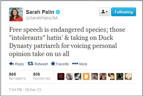 Sarah Palin Blasts A&E: Free Speech Is 'Endangered Species'
