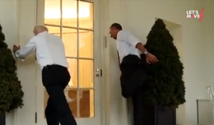 obama stretching with Biden