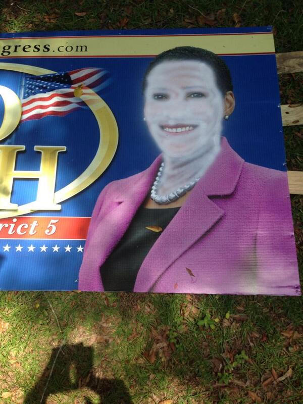 Nice. Libs Paint Whiteface on Black Republican's Yard Signs