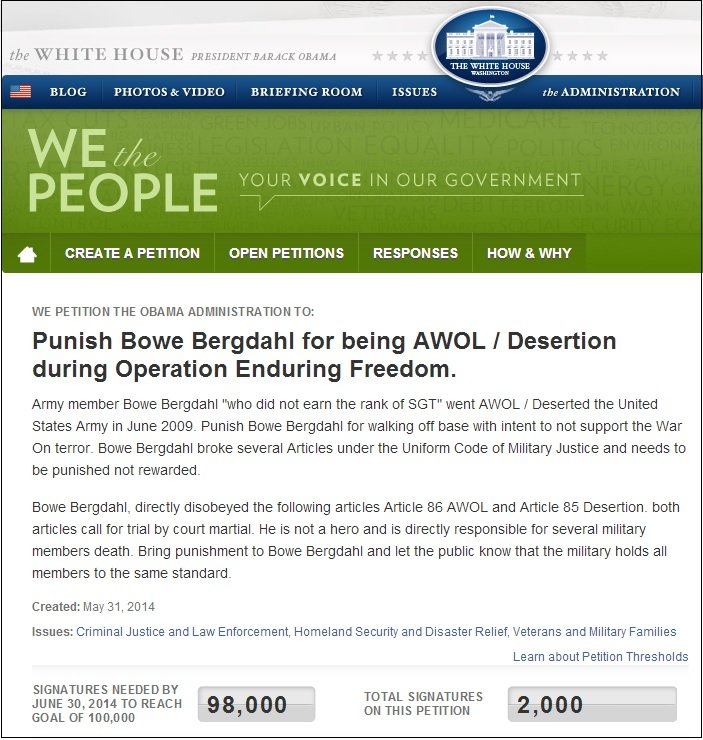 wh petition bergdahl