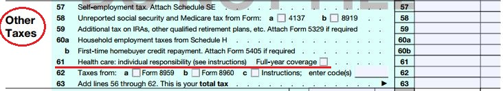 IRS 1040 image obamacare tax