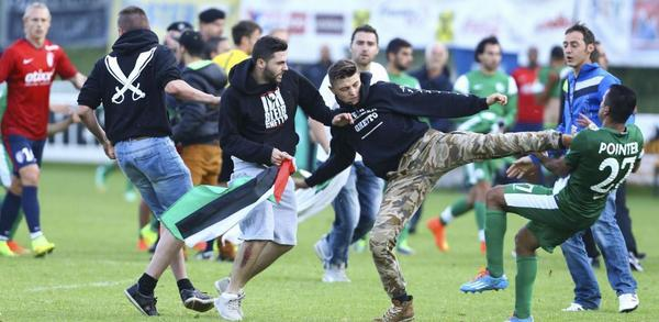 haifa players attacked