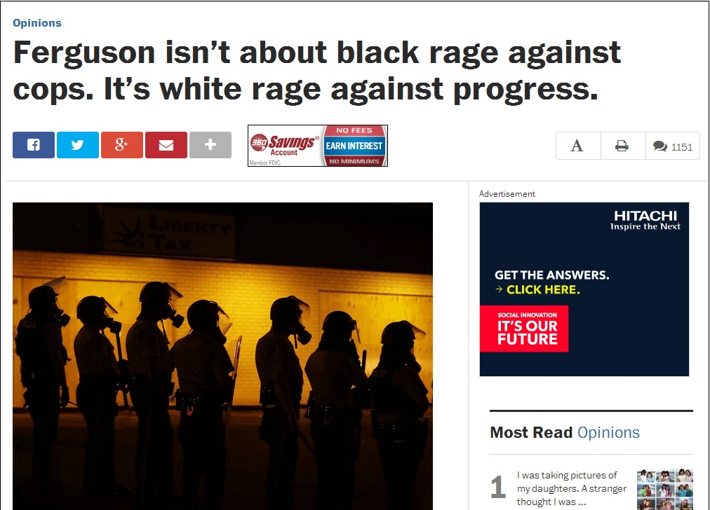 Washington Post: Ferguson Isn't About Black Rage Against Cops, It's About White Rage