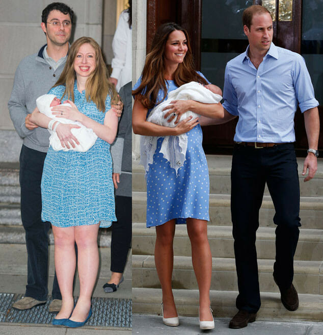 ROYAL COPYCATS… Clintons Mimic Kate Middleton & Baby Leaving Hospital Down to the Blue Dress (Video)