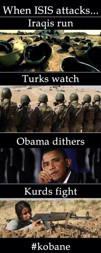 kobane fighters obama dithers