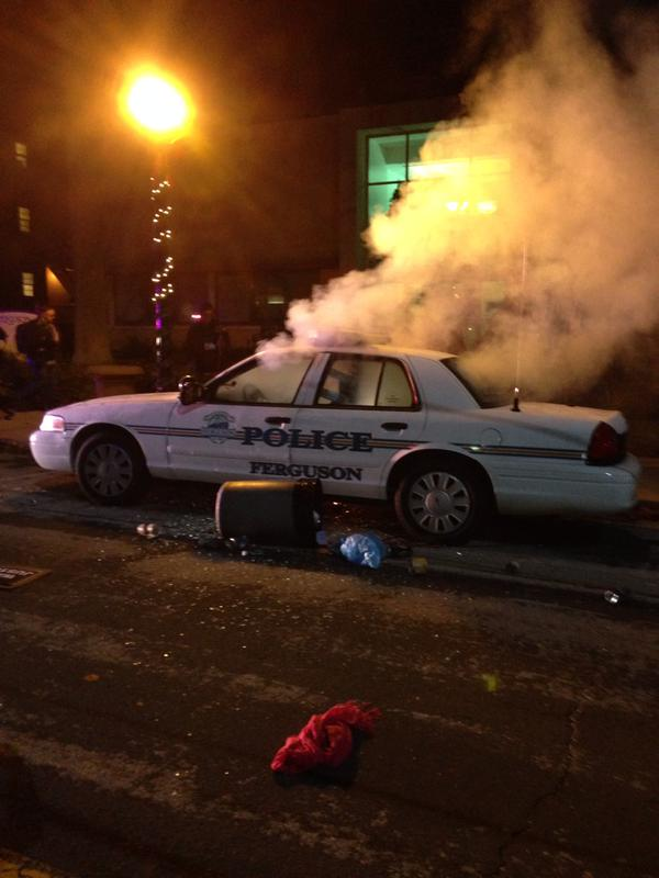 car torched ferguson