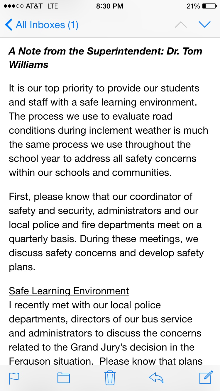 kirkwood school warning