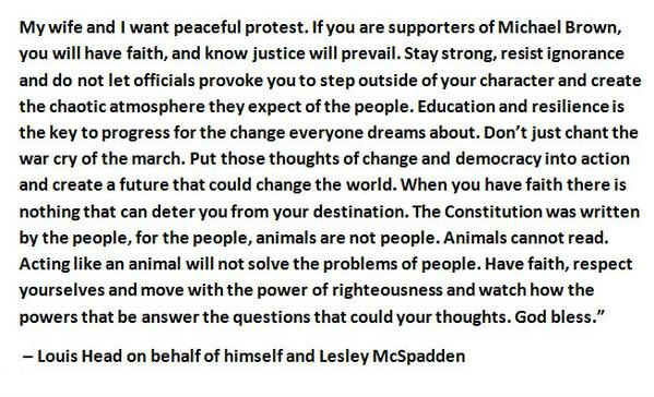 Mike Brown s Step Dad Pens Letter to Protesters
