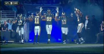 """Rams Players Take Field in False Narrative """"Hands Up, Don't Shoot"""" (Video)"""