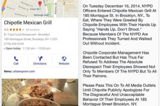 """Chipotle Employees Greet Cops With """"Hands Up, Don't Shoot"""" Protest – Cops Leave Without Ordering"""