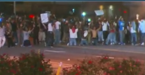 hands up ferguson mob