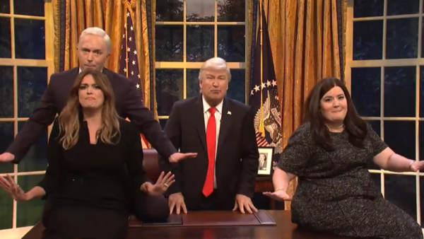 photo image CRINGE CONTENT: Alec Baldwin Returns as President Trump in Musical Number on SNL Season Finale
