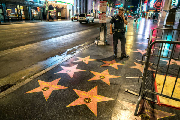 photo image EXCLUSIVE: Right-Wing Street Artists Who Plastered Trump Stars on Hollywood Walk of Fame Issue 'Warning' to 'Resistors'