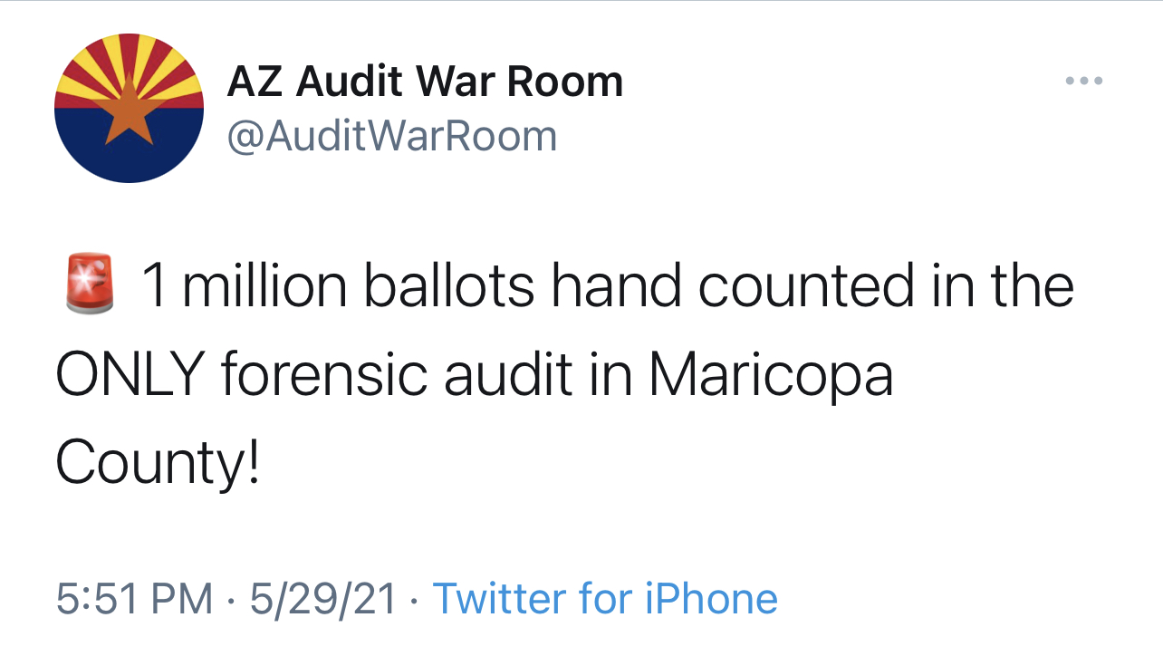 HUGE MILESTONE: AZ Audit Officials Announce ONE MILLION Ballots Hand Counted and Analyzed! 2