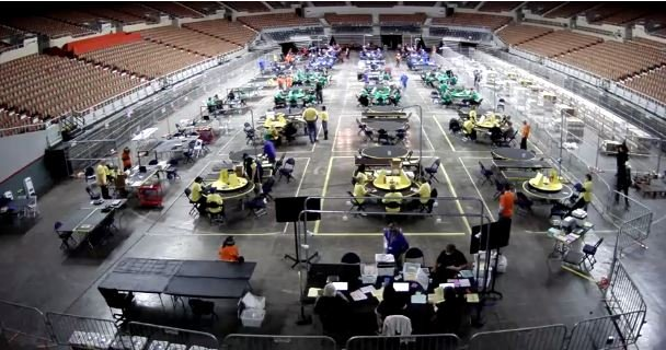 BREAKING: Arizona Officials Increase the Number of Tables at Veterans Memorial Coliseum to Speed Up Forensic Audit... Update: FROM 20 to 46 Overnight!