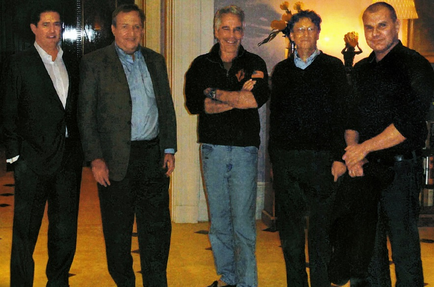 (The above picture from the New York Times shows James E. Staley, at the time a senior JPMorgan executive; former Treasury Secretary Lawrence Summers; Mr. Epstein; Bill Gates, Microsoft's co-founder; and Boris Nikolic, who was the Bill and Melinda Gates Foundation's science adviser at Epstein's New York mansion)