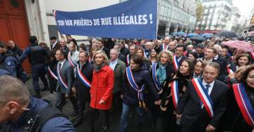 Extraordinary Scenes in Paris: Up To 100 Officials Singing La Marseillaise Drown Out Islamic Prayers at Muslim Street Protest