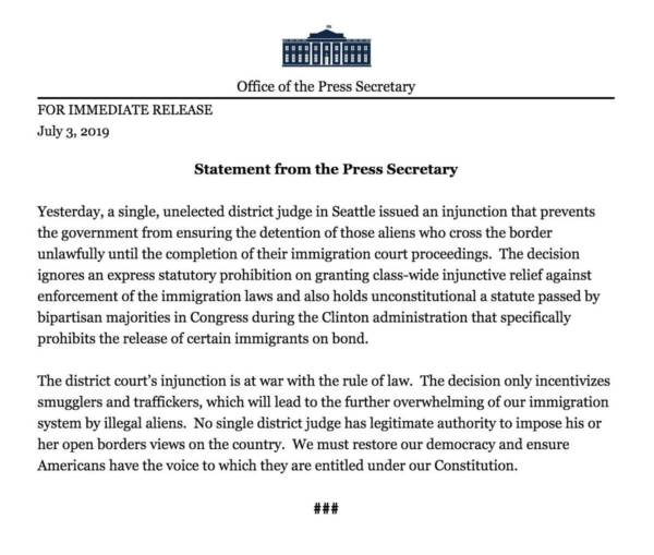 Attorney General Barr White House Offered Unfettered: White House Slams Judge Blocking Trump's Asylum Policy