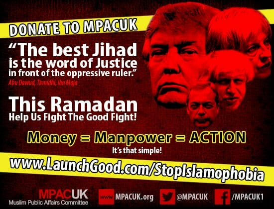 REPORT: 'Leading' Muslim Group Calls for 'Ramadan Jihad' on Post With Pics of Trump, Farage, May