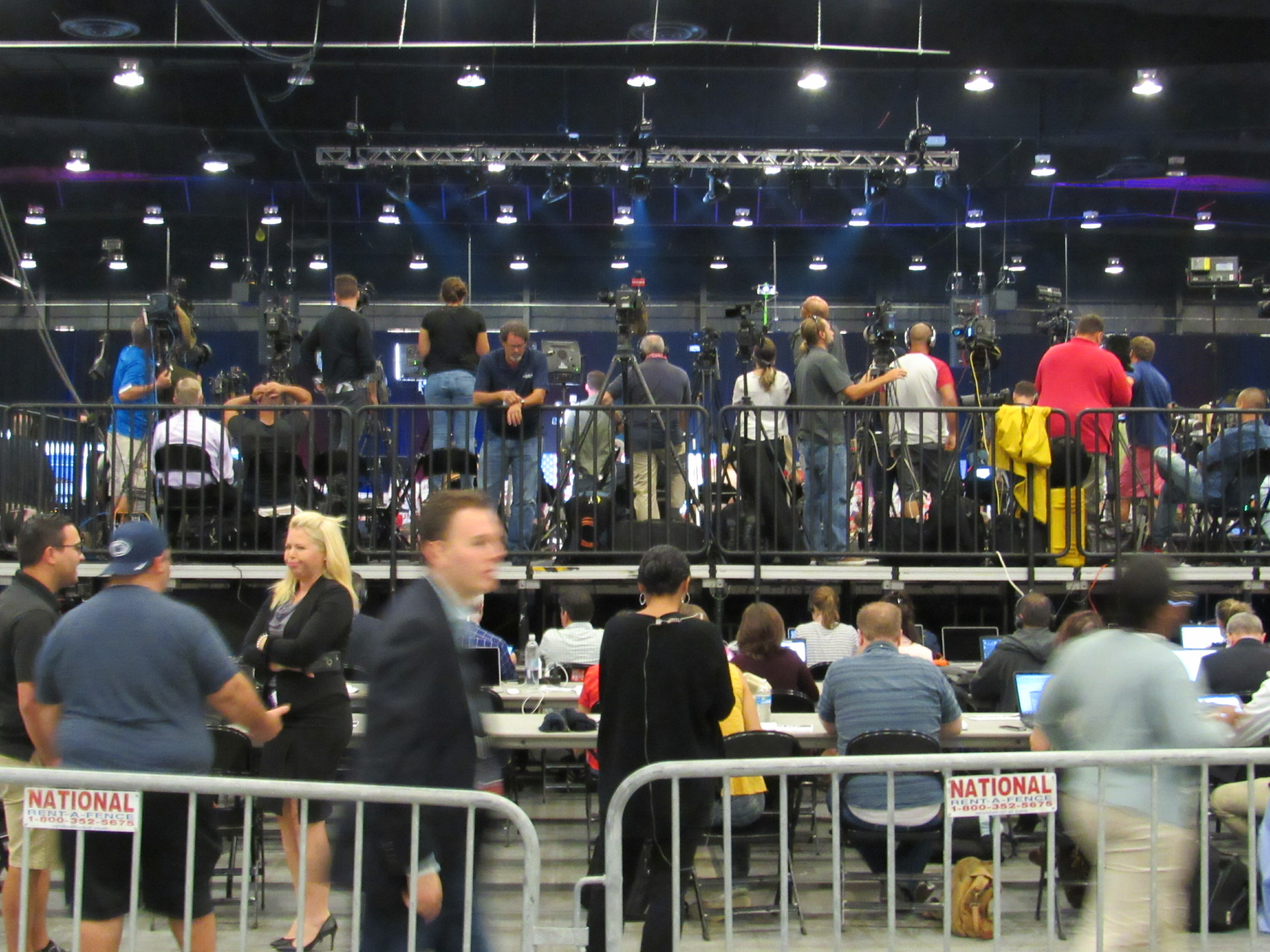 Back view of media pen Trump West Palm Beach rally