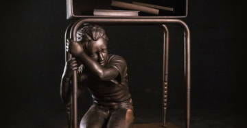 Gabby Giffords' Gun Control Group Targeting Pro-2A Districts With Statue Of Child Cowering Under School Desk