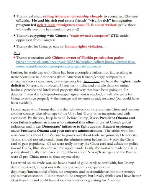 Evidence China Was Colluding with the Bidens and Providing Information on How to Defeat President Trump in the 2020 Election