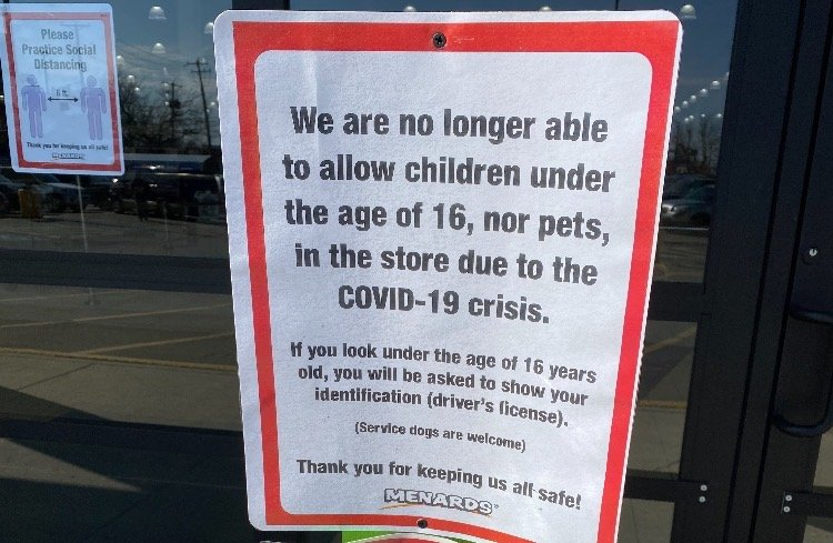Menards No Longer Allows Children Under The Age Of 16 To