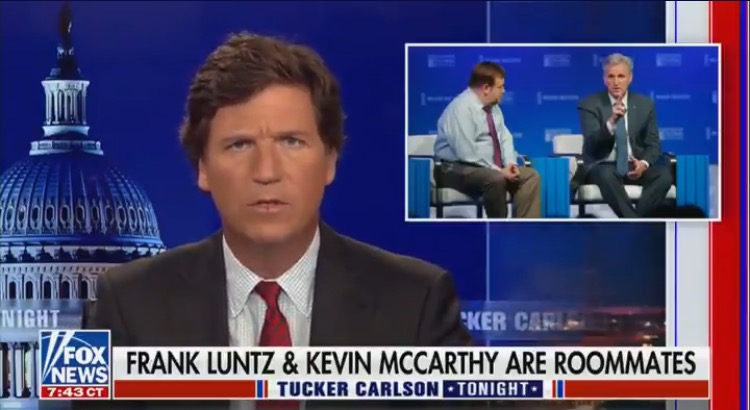 Tucker Carlson Drops Bomb: GOP Leader Kevin McCarthy and Frank Luntz Are Roommates! (VIDEO)