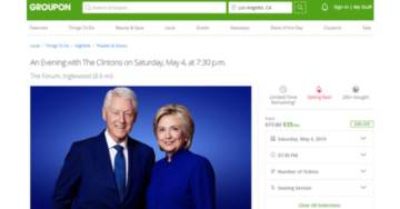 Pathetic. Clintons Hawk Tickets on Groupon After Speaking Tour Fails to Draw Crowds