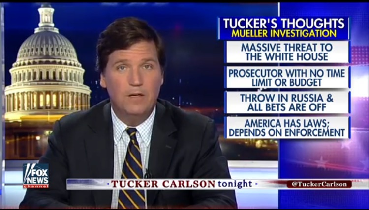 "Tucker Carlson SLAMS Mueller Probe ""Mission Creep""; ""Massive Threat to the White House"" (VIDEO)"