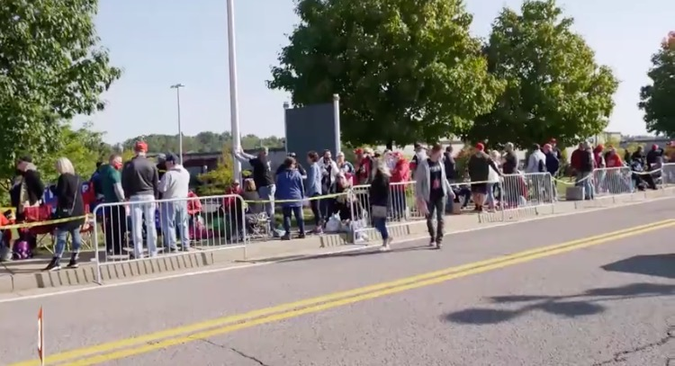 Supporters Line up as Far as the Eye Can See Hours Ahead of President Trump's Pennsylvania Rally (VIDEO)