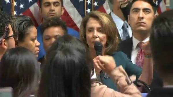 Screaming Illegals Surround Pelosi at Presser – Security Forced to Shuffle Her to Safety (VIDEO)