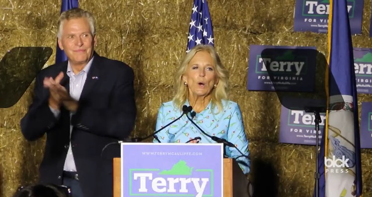 Protesters Drown Out Jill Biden's Campaign Speech For Democrat Terry McAuliffe (VIDEO)
